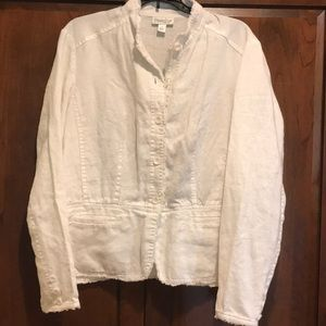 Linen Coldwater creek white jacket large guc fun